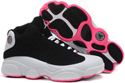 Women Jordan 13 Black/White/Pink